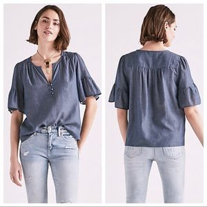 LUCKY BRAND Short Sleeve Chambray Top